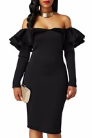 Autumn Dress Women 2017 Night Clubwear Black Ruffle Off The Shoulder Long Sleeve Bodycon Dress Vestidos