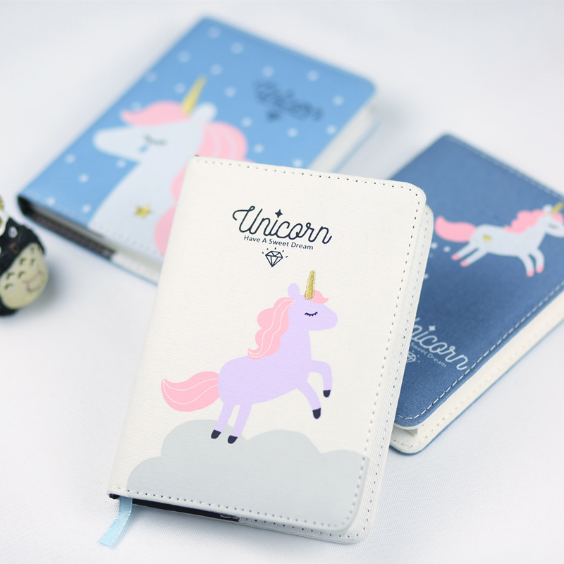 1Pcs Cute Unicorn Hardcover Notebook Diary Pocket Notepad Promotional Gift Stationery BJB46 365 day thick hardcover personal diary