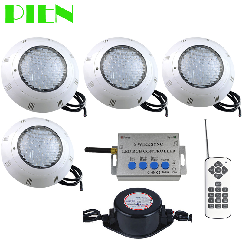 RGB 2 Wire Sync LED Pool lights Wall mounted Underwater lamp Piscina IP68 12V 24W + Remote control Power supply Waterproof 4pcs