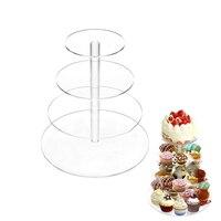 DINIWELL 4 Layer Transparent Acrylic Cupcake Stand Party Cake Stand Cup Cake Stand Dessert Snack Rack