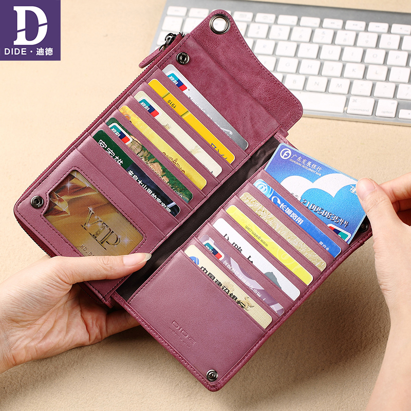 DIDE Multifunction Genuine Leather Wallets Women Brand High Quality Wallet Female Vintage Dollar Price Long Purse Card Holder ms brand men wallets dollar price purse genuine leather wallet card holder designer vintage wallet high quality tw1602 3