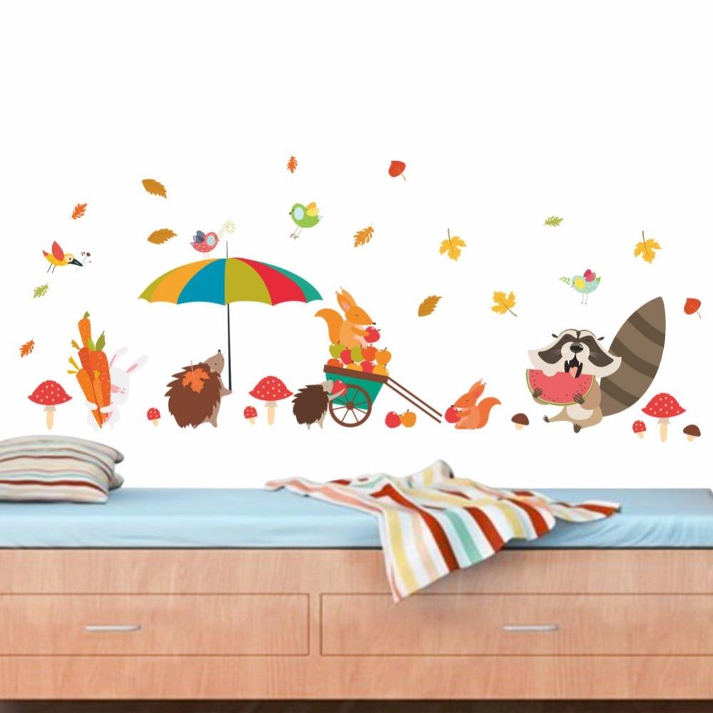Детский сад Стена коридора декоративные настенные наклейки милый Ежик Фокс зонтик Джунгли животных цветник наклейки детская комната