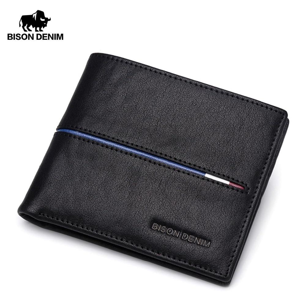 BISON DENIM Genuine Leather Wallet Men Brand Fashion Short Design Purses Male Gift ID Credit Card Holder Slim Bifold Wallet Men все цены