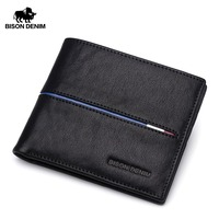 BISON DENIM Genuine Leather   Wallet   Men Brand Fashion Short Design Purses Male Gift ID Credit Card Holder Slim Bifold   Wallet   Men