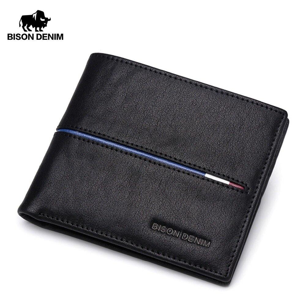fca256958cd5d BISON DENIM prawdziwej SKÓRZANY PORTFEL mężczyźni marka moda krótki projekt  portfele mężczyzna prezent ID posiadacz karty kredytowej Slim Bifold portfel  ...