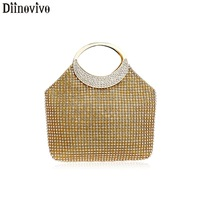 DIINOVIVO Rhinestones Evening Bag Day Clutch Crystal Chain Small Handbag Ladies Wedding Purse Bags For Wedding Party WHDV1125