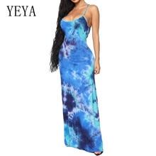 YEYA Women Sexy Sleeveless Open Back Retro Print Tie Dyed Long Dress Summer Multiway Wrap Convertible Boho Maxi Club Red Dress open back tribal print maxi dress