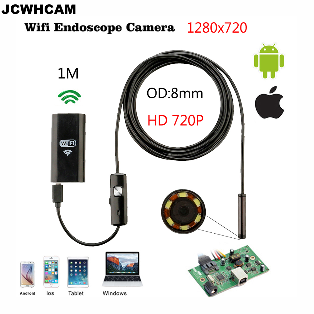 JCWHCAM 8mm 렌즈 6 Ios 및 안 드로 스마트 폰 PC에 대 한 HD 720p 1M WiFi 내시경 IP67 방수 검사 카메라 LED