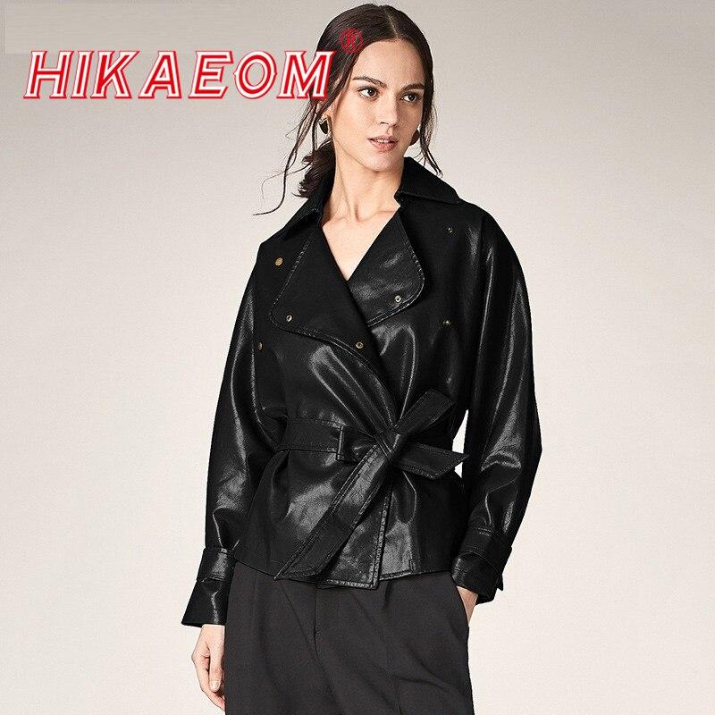 Women's PU Jacket 2019 Autumn New Europe And America Ladies Large Lapel Long Sleeve Motorcycle PU Jacket   Leather   Women With Belt