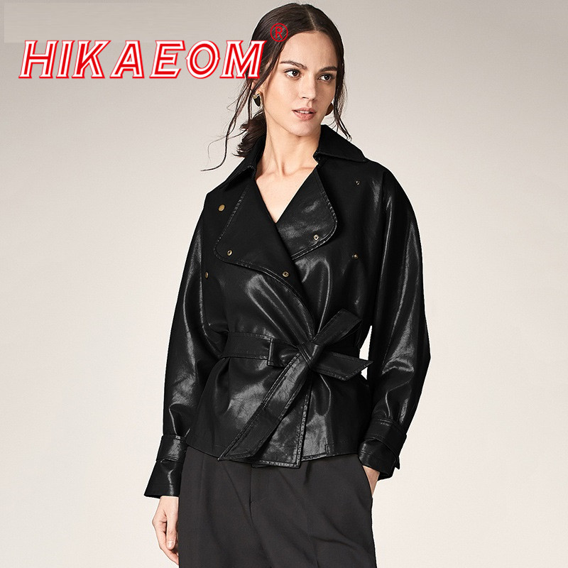 Women's PU Jacket 2019 Autumn New Europe And America Ladies Large Lapel Long Sleeve Motorcycle PU Jacket Leather Women With Belt