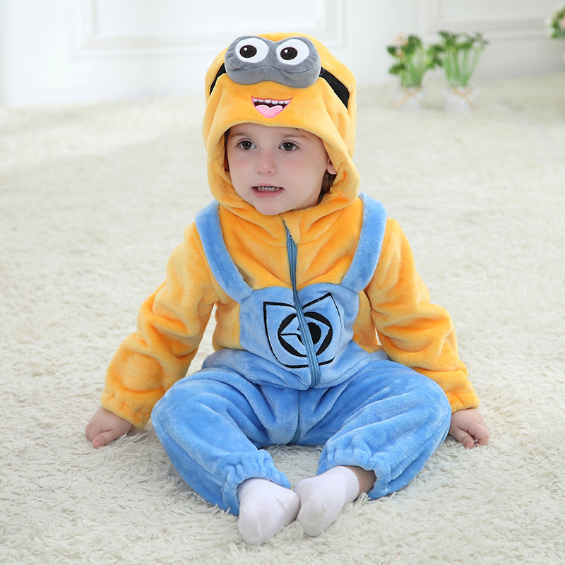 New Animal Baby   Romper   Yellow Minions Bebe Infant Clothing Baby Boy Girl Clothes Cartoon Flannel Hooded Jumpsuit Costume
