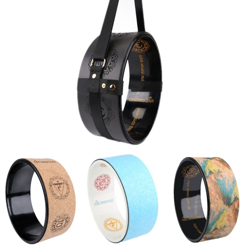 Cork TPE Yoga Wheel Yoga Circle Stretch Exercise Auxiliary Home Equipment Laser Engraving Round Exercise Wheel Pilates Circle цены онлайн
