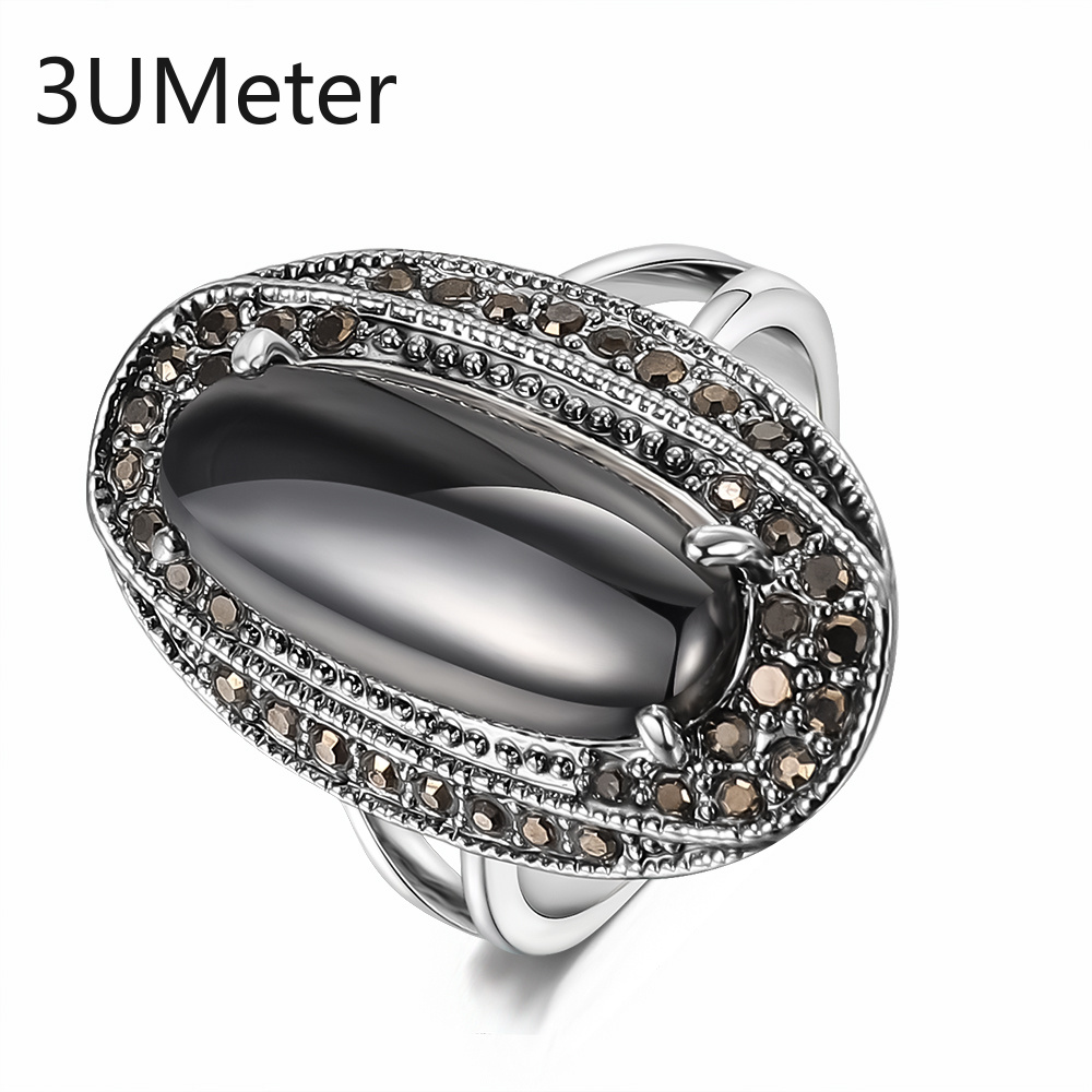 3UMeter 2019 New Black Stone Rings For Women Vingate Ring Noble Silver Bohemia Engagement Rings Jewelry gift for girlfriend in Engagement Rings from Jewelry Accessories