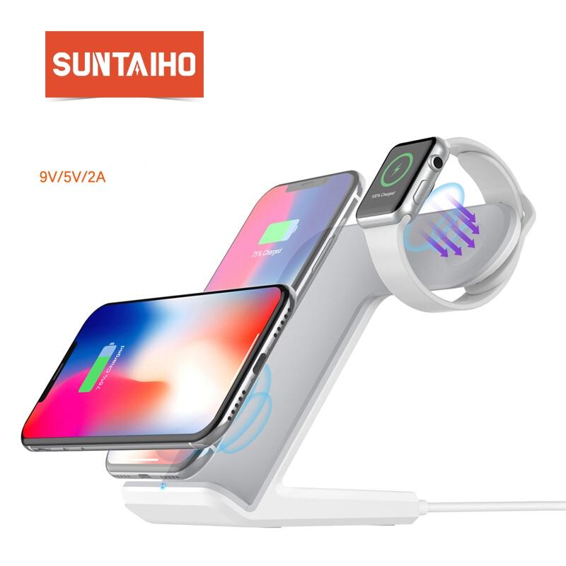 Suntaiho XS Max QI Carregamento Sem Fio Carregador Sem Fio para o iphone para A Apple iWatch Airpods USB Carregador Qi Pad para Samsung s9 S8
