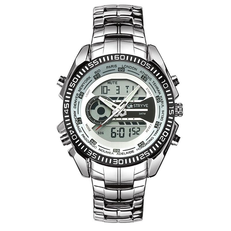 Mens Watches Top Brand Luxury Quartz Digital Dual Display Watch Men Fashion Retro Stainless Steel Designer Watches Dropshipping