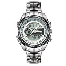 Mens Watches Top Brand Luxury Quartz Digital Dual Display Watch Men Fashion Retro Stainless Steel Designer Dropshipping