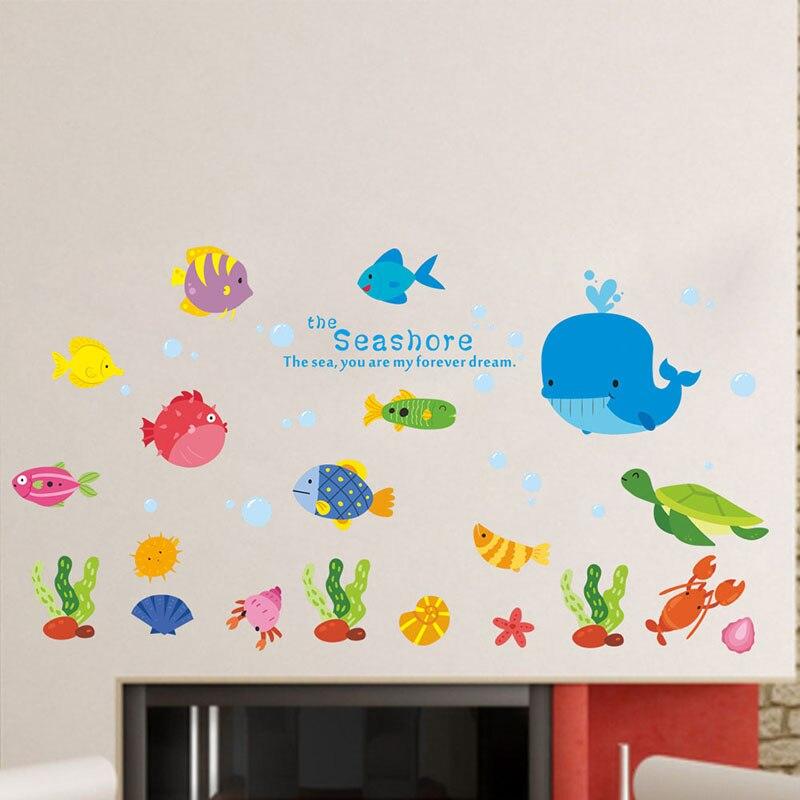 Unterwasser Fisch Whale Dekorative Wand Aufkleber Für Küche Zimmer  Dekoration Bad PVC Meer DIY Decor Zeichen