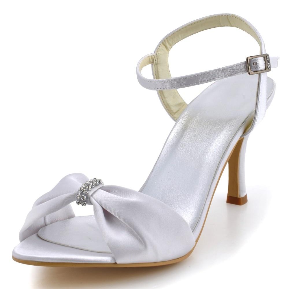 ФОТО EP2103 Women White Sandals Open Toe Pleat Satin Rhinestone Buckles Bowtie  Bridal Shoes