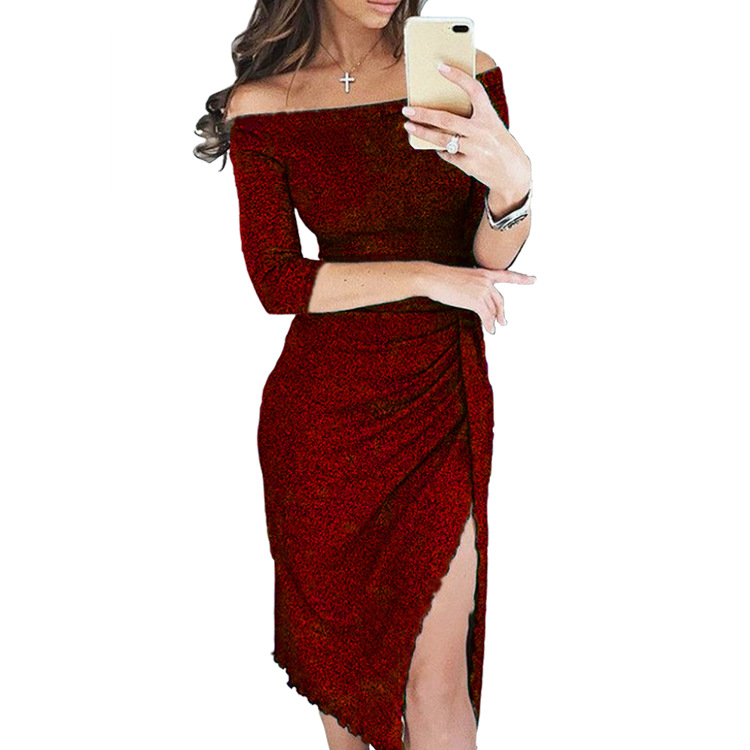 e8f7c9d3e84 Detail Feedback Questions about Sexy Off Shoulder Party Dress Bright Silk  Shiny Dresses Women Half Sleeve High Waist Vintage Bling Bodycon Dress  Vestido ...