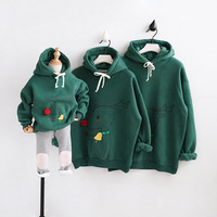Winter Christmas Father Mother And Boys Girls Hoodies Family Matching Clothes White Red Green Cartoon Beer