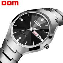 Reloj de pulsera marca DOM hombre deportivo de lujo de tungsteno con correa de acero resistente al agua 30m relojes de cuarzo de negocios W 698 Casual de moda