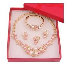 Gold Fashion Plateó La Perla Granos de la Joyería de Traje Africana Sets de Boda Nupcial Perla de Imitación Collar de Cristal Conjunto