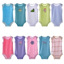 Hooyi Summer Baby Bodysuits Sleeveless 100% Cotton Baby boy Clothes body ropa bebe girl jumpsuits singlet vest