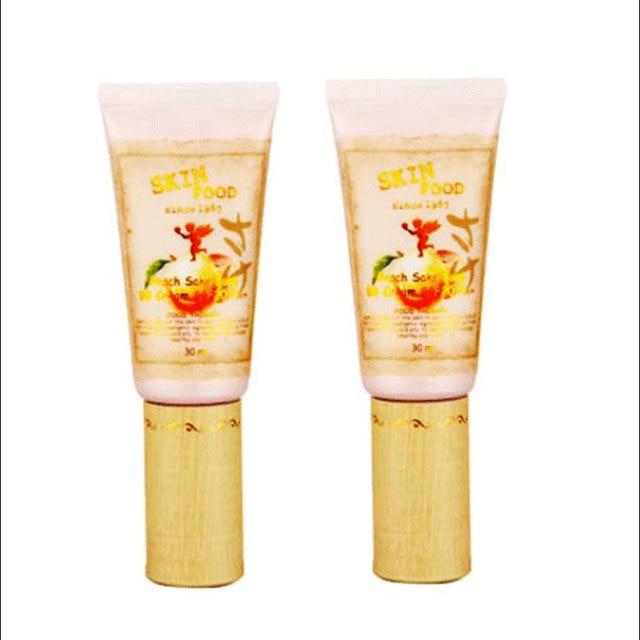 Skin food sake peach pore bb creme 2 cor da cara maquiagem bb Creme de Clareamento Corretivo Maquiagem Nude Coréia Coréia Cosméticos 1 pcs