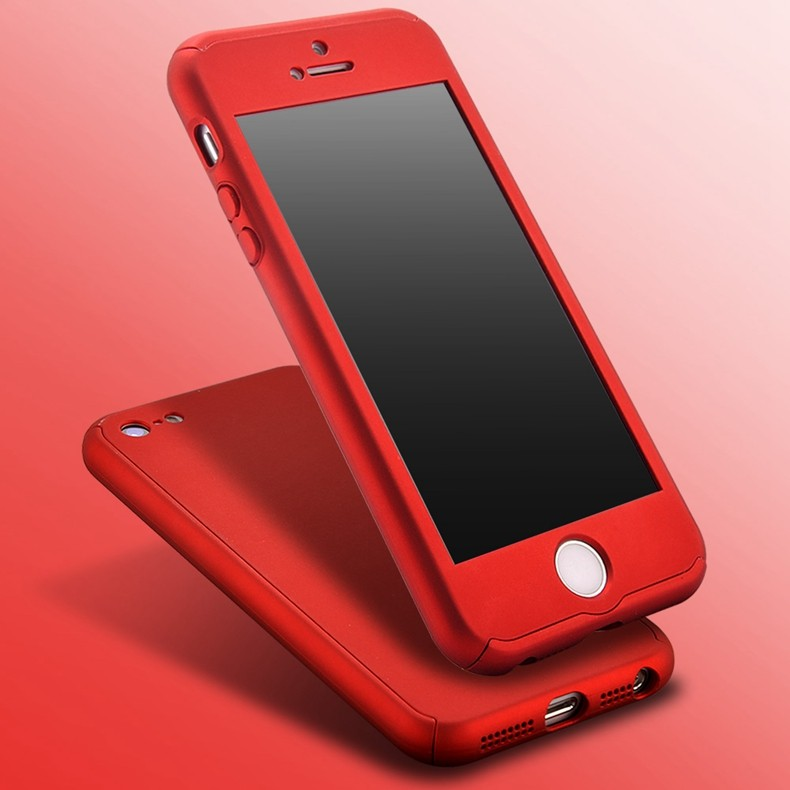 super popular 3c202 e3c60 US $4.78 |Luxury Slim Mat Red Metal Plating Cover For Apple iPhone 5 5S SE  Hard PC 360 Degree Full Body Case + Free Glass Screen Protector-in ...