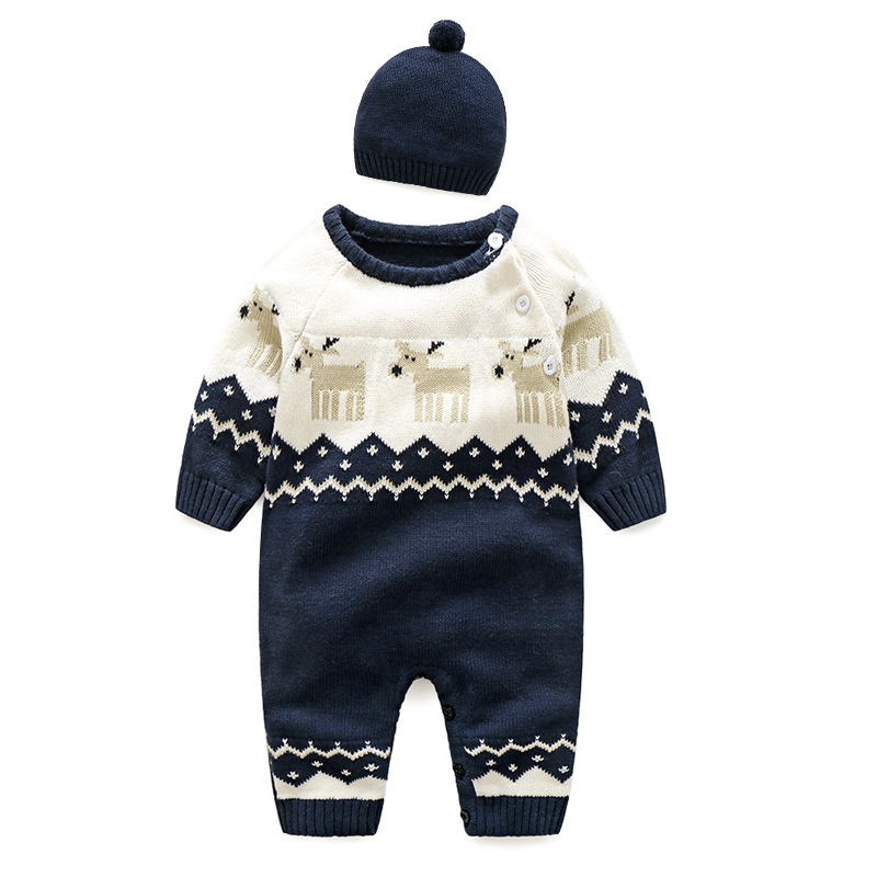 ESCERO Baby Clothing Cotton Rompers Girl Boy Christmas Clothing Romper Bebe Winter Coat Baby Sweat Clothes Newborn Rompers + Hat