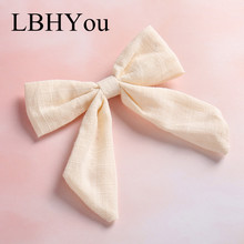 1pcs Hant Tie Tied Cotton Linen Hair Bow Hairpins, School Girl Bow Hair Clips Hair Accessory contrast bow tied half zip bodysuit