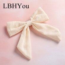 купить 1pcs Hant Tie Tied Cotton Linen Hair Bow Hairpins, School Girl Bow Hair Clips Hair Accessory онлайн