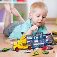 Container Truck Toy Cars For Children Boy Alloy Car Model Diecast Metal Truck Hauler 12pcs Small
