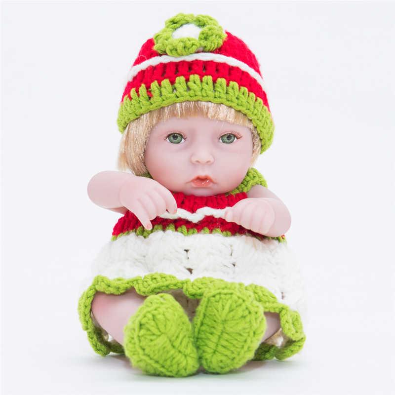 28 см/11 дюймов полный винил мягкого силикона Reborn Baby Doll золотой волос девушка игрушки Реалистичные Младенцы Куклы bebe Reborn Baby