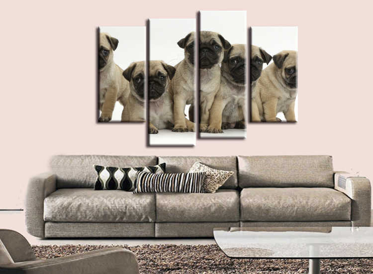4 pieces / set abstract Fashion Five Animal Dog   Canvas Big Print Poster Wall Picture Home Decor Painting