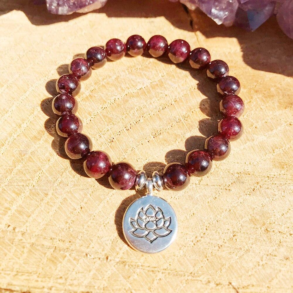 2019 New Design Women`s Yoga Bracelet Best Quantity Garnet Bracelet Lotus Ohm Charm Bracelet