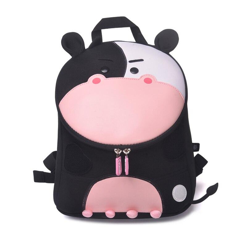 Fashion Black Pink Cow School Bags For Girls Boys Lovely Animals Design Waterproof Children Backpacks Kids Bag Mochila Infantil