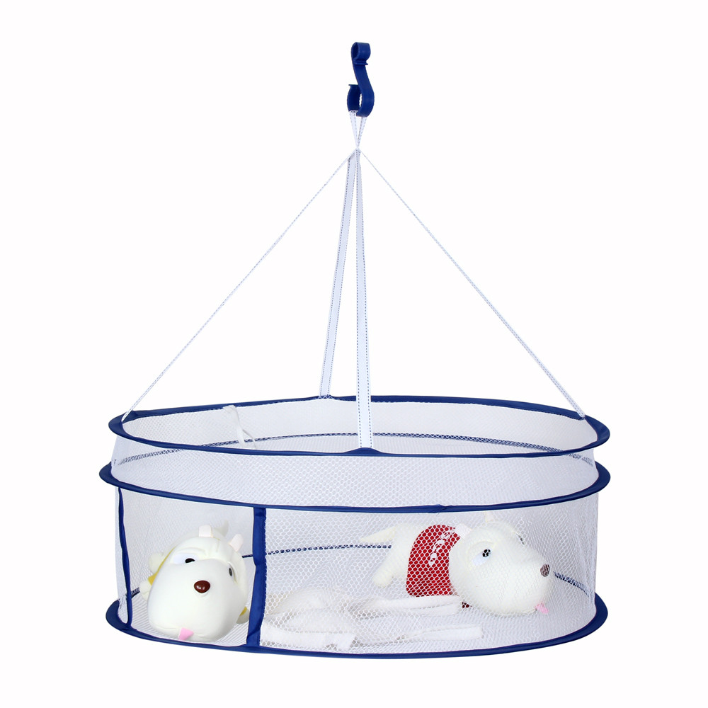 Useful Drying Rack Folding Hanging Clothes Laundry Sweater Basket Dryer 2 Layers Net For Toys Underwear Dryer