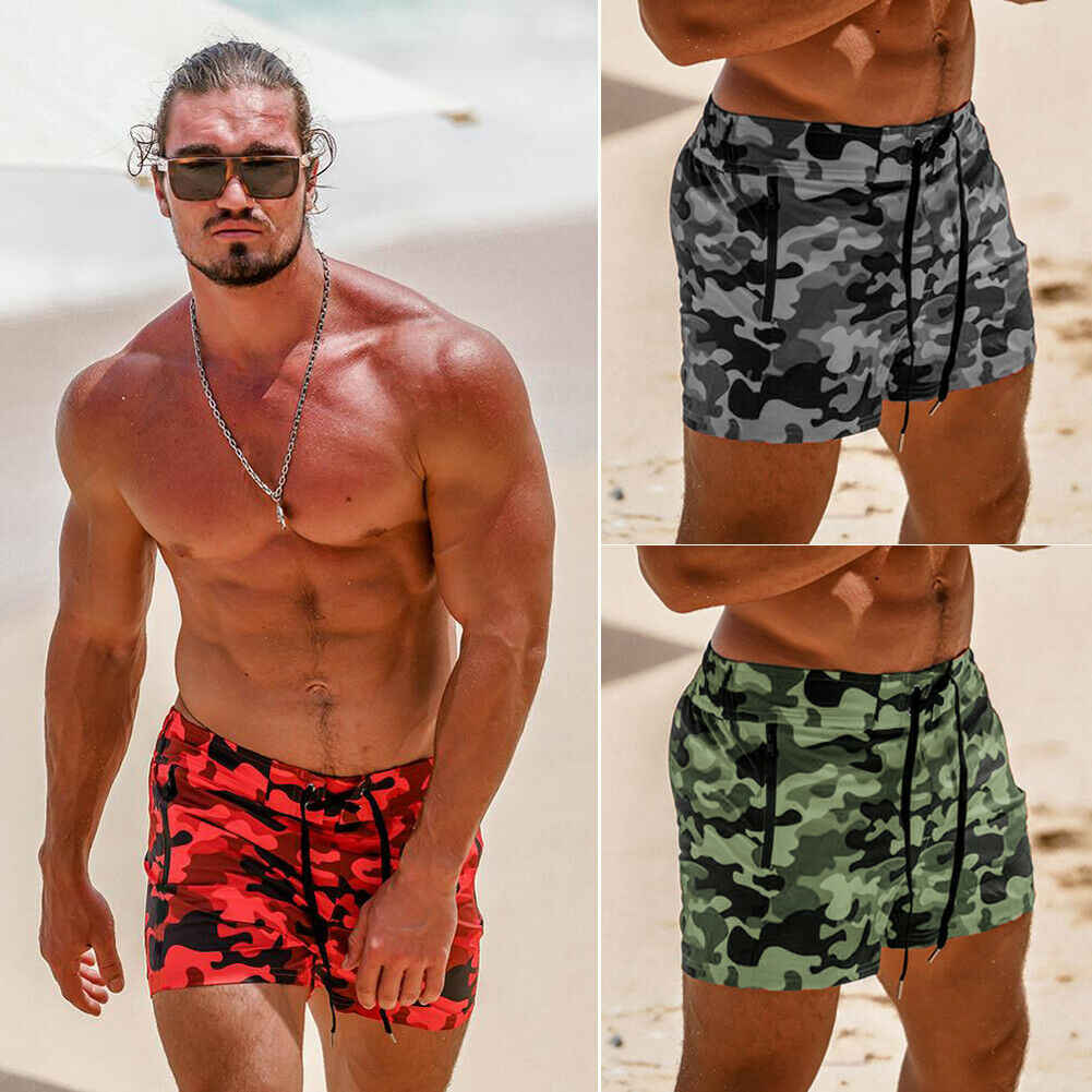 Hot Summer Men Surfing Shorts Male Camouflage Swimming Trunks Underwear Running Boxer Briefs Pants Beach Shorts M-3XL