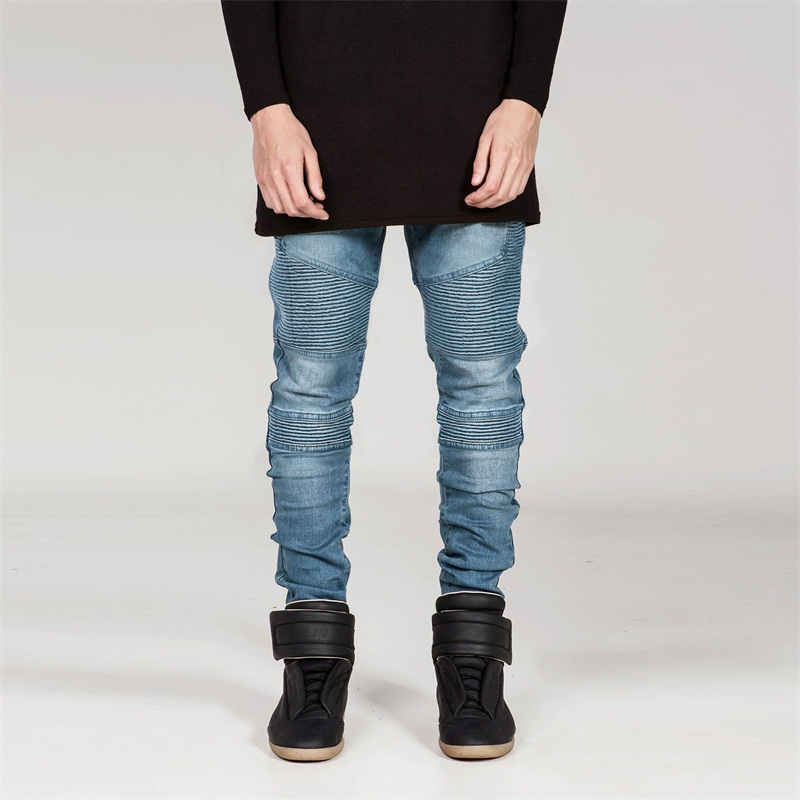 Pleated Biker Jeans Men Stretch Slim Straight Elastic Blue Black Denim Jeans Mens Hip Hop Motorcycle Jogger Trousers Fashion 2016 new mens jeans pants elastic mid rise straight men clothing tops trousers deep blue casual trousers cool stretch men jeans