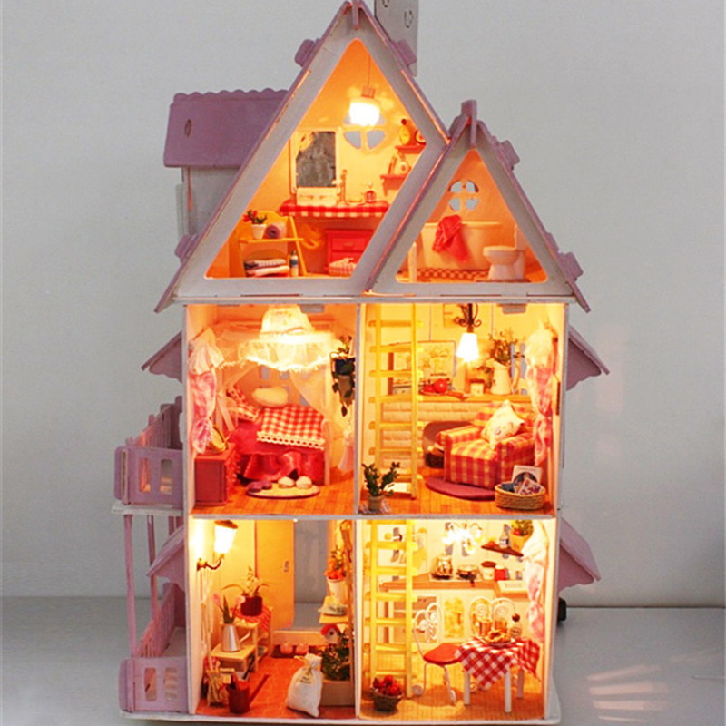 Doll house with furniture Handmade wooden house diy birthday gifts 3D puzzles for adults and lovers dream house children lakers шорты