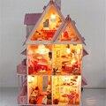 Casa de boneca com móveis Handmade de madeira casa presentes de aniversário diy 3D puzzles para adultos e amantes casa ideal crianças