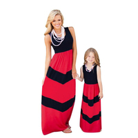 Mother Daughter Dress Summer Striped Family Look Mommy And Me Clothes New 2017 Brand Sleeveless Matching