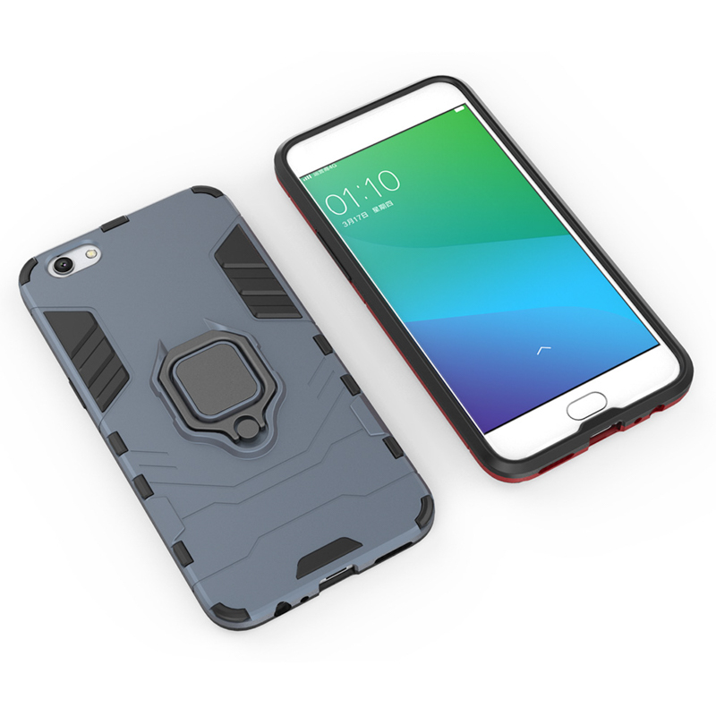 Phone Cases For Oppo R11s R11 R9s Plus R17 Pro R15 F9 Pro A7X A5 A3s Case Plain Hard Cover Iron Man Style Bags With Finger Ring in Fitted Cases from Cellphones Telecommunications