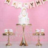 Gold & silver crystal high cart cake cake tray table decorations of dessert cake fruit plate of table.