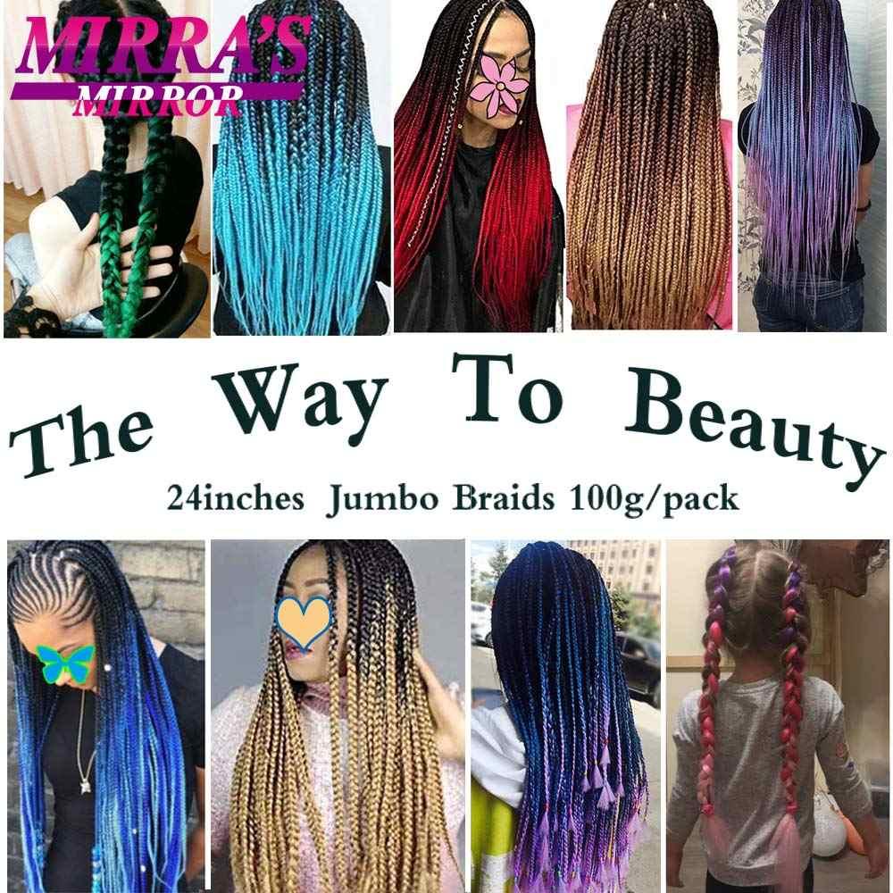 Mirra's Mirror зеркало Омбре Наращивание волос Плетение волос большие синтетические косы длинные вязаные волосы розовый синий блонд зеленый красный