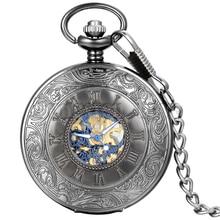 TungstenLove Старинные Узоры Высекает Hollow Скелет Карманный Брелок Часы С Золотой И Синий Тон Движение