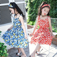 Retail 1Pcs Brand New Girls Summer 3 Color Beautiful Princess Floral Beach Dress For School Girls