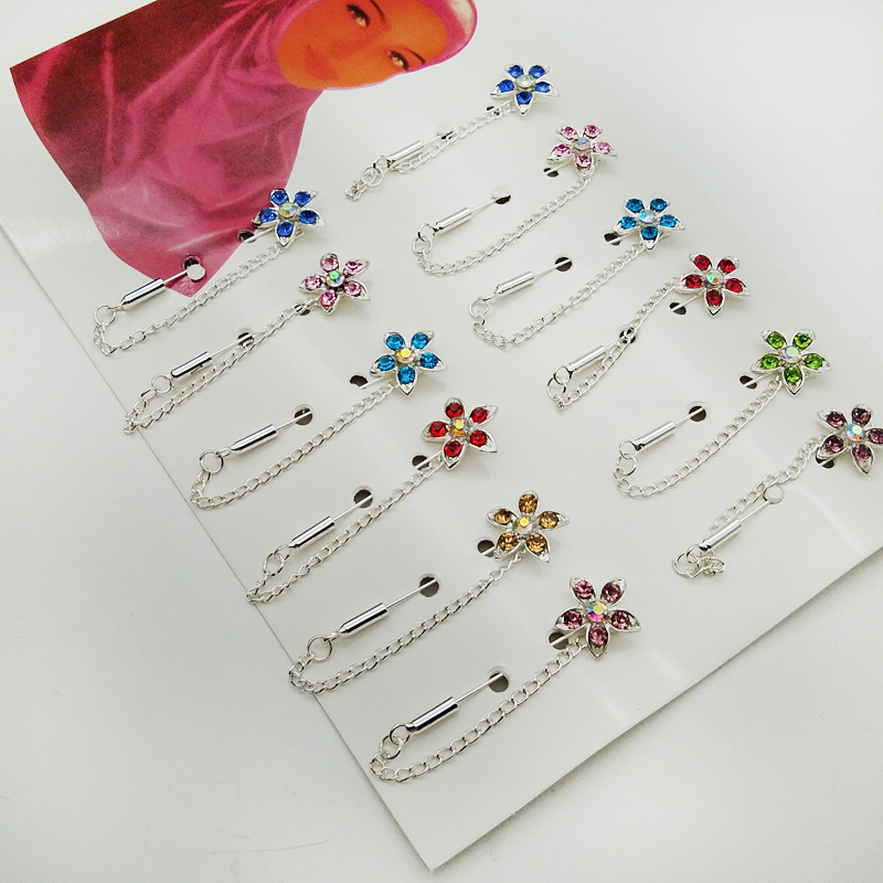 Hijab Pins Silver Color Safety Pin Brooch Jewelry Fashion: Wholesale Hijab Pins Brooches 12PCS Flower Crystal Muslim