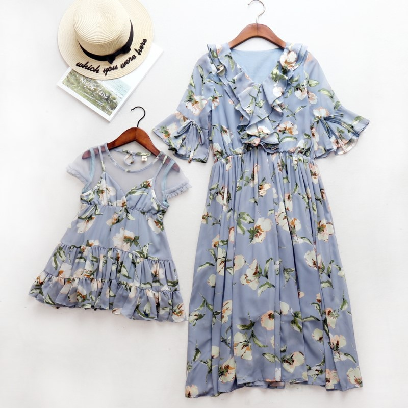 Mom Mum and Daughter Dress Plus Size Bohemian Mother Daughter Long Dress Mother Kids Matches Clothes Matching Family Outfits